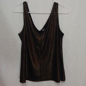 Drop neck black and gold sleeveless top
